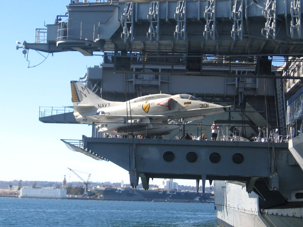 USS Ronald Reagan seen docked at Naval Air Station North Island across San Diego Bay.