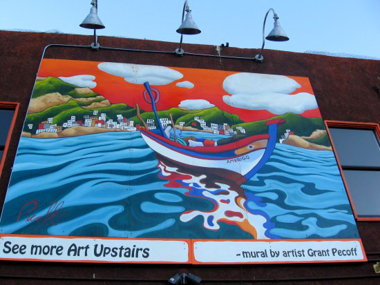 Vivid mural adds zest to an ordinary building on India Street.