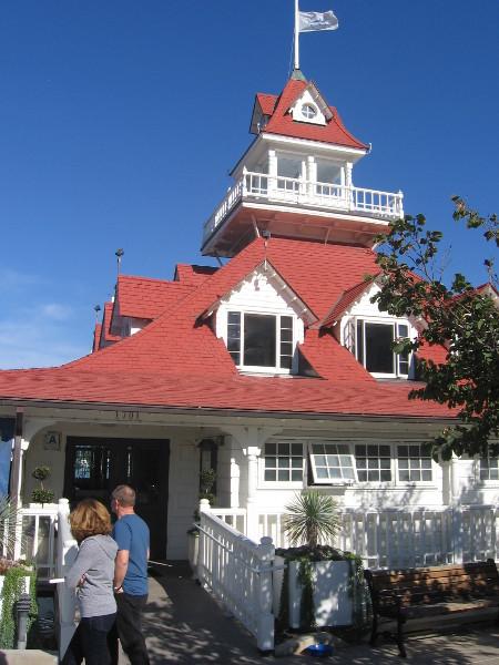 Historic 1887 boathouse on bay side of island near Hotel del Coronado.