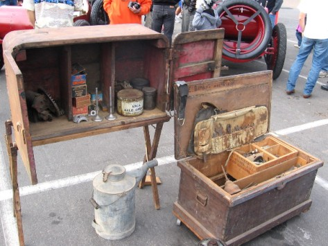 Chests full of tools that car mechanics would use back in the old days.