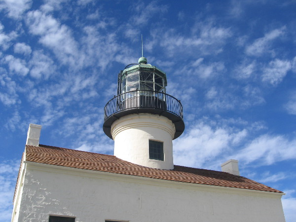 Looking up at the Old Point Loma Lighthouse in Cabrillo National Monument.