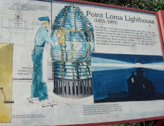 Sign outside lighthouse shows huge Fresnel lens which guided ships with focused light 400 feet above sea level.