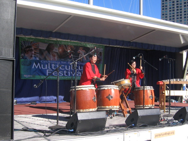 Japanese drummers add rhythm to the San Diego Multicultural Festival.