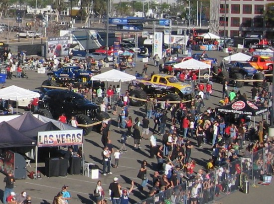 Look at all the monster truck enthusiasts checking out cool stuff.