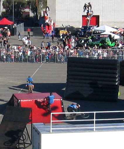Guys on bikes and motorcycles were performing huge jumps for the crowd.
