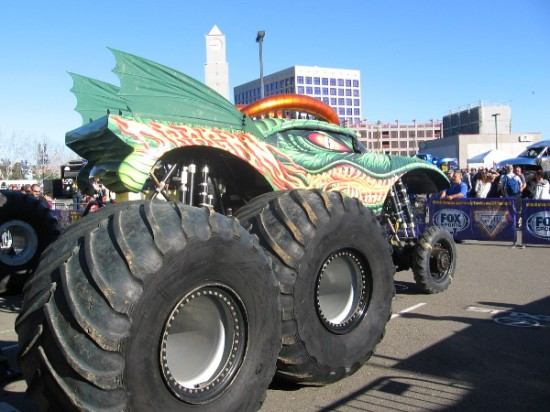 I don't know the name of this monster truck, but it was definitely large!