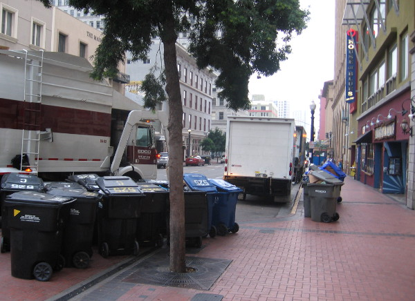 Wednesday is trash pick up day in front of the House of Blues in downtown San Diego.