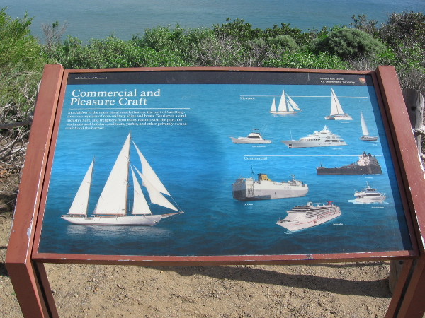 One of many interesting signs. This one shows typical commercial and pleasure craft seen on the water below.