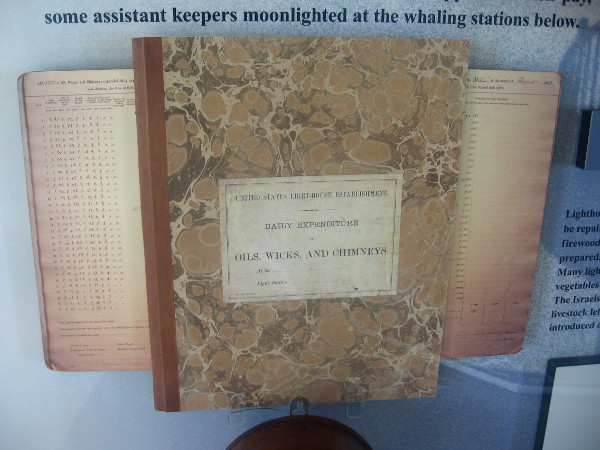 Log book of daily expenditures for oil, wicks and chimneys.