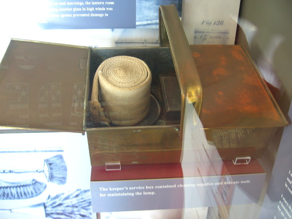 The keeper's service box contained cleaning supplies and delicate tools for maintaining the lamp.