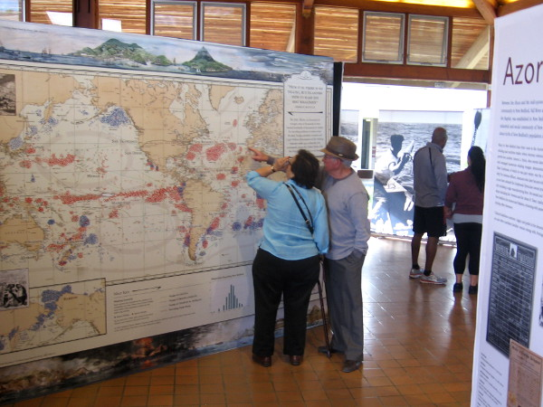 People point out spots on a map of historical whaling grounds.