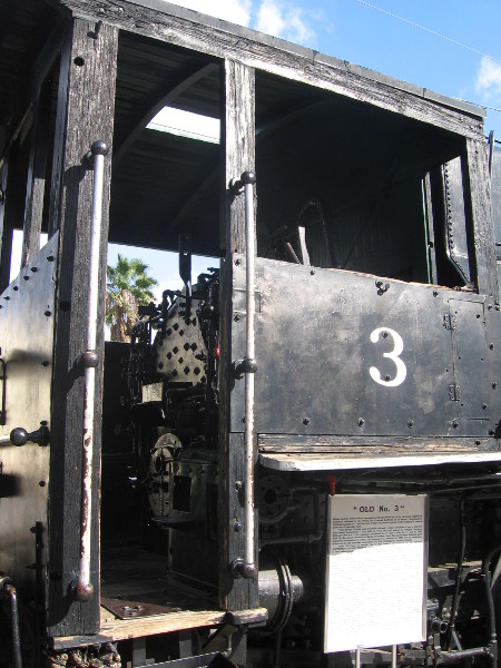 Looking up into door of steam locomotive Mojave Northern Railroad #3.