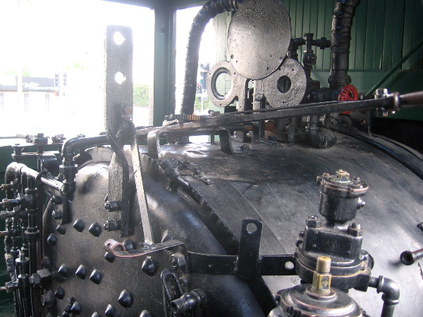 Part of the complex machinery and controls in the steam locomotive's cab.