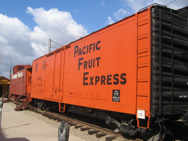 Pacific Fruit Express reefer car on display at old train depot in La Mesa, California.