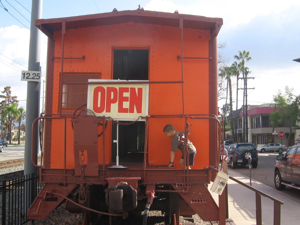 Entering the caboose, to check out what life was like working on the railroad.