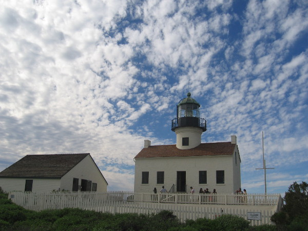 Looking at the iconic Old Point Loma Lighthouse and small museum beside it.