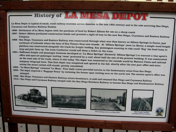 Information sign outlines the early history of La Mesa's train depot.