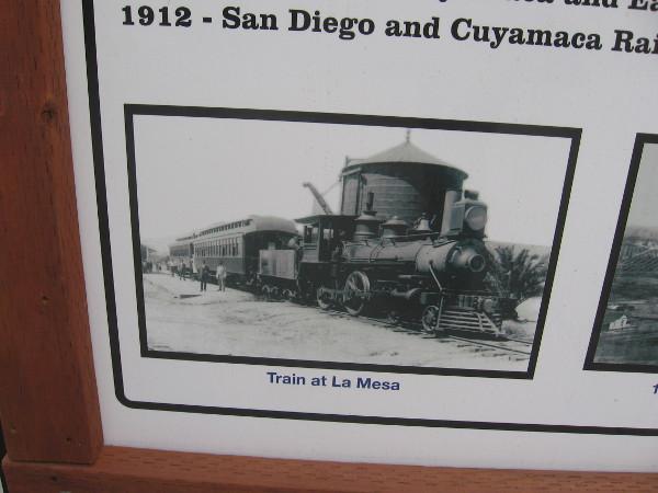 Historical photograph of a train stopping at La Mesa.