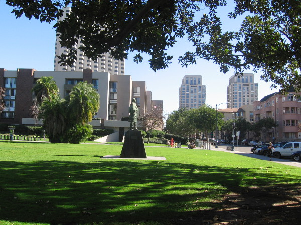 Pantoja Park is a welcome, quiet grassy area in the midst of downtown San Diego's bustle.