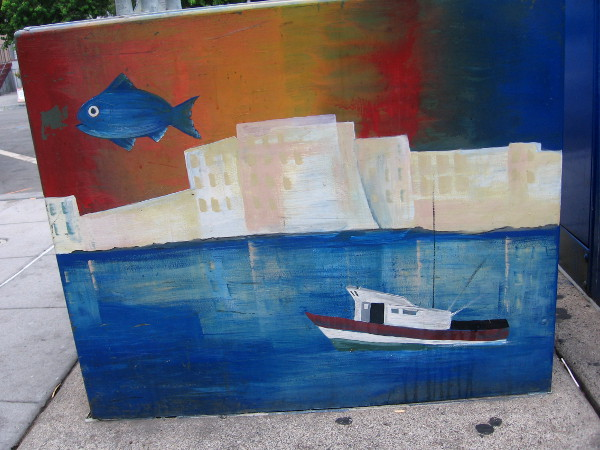 Fish and fishermen are big themes on Little Italy utility boxes.