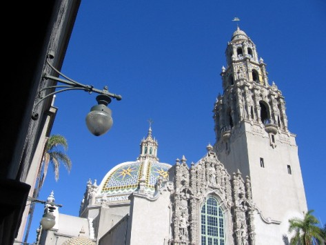 The tower, reopened today to the general public, rises above tiled dome of California Building.