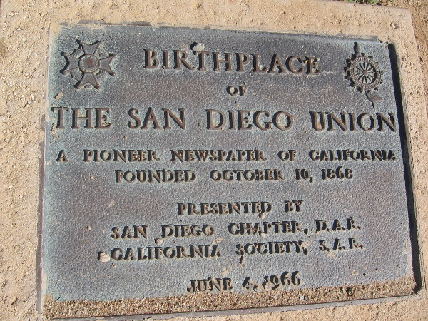 Plaque marks the birthplace of the San Diego Union newspaper in 1868.