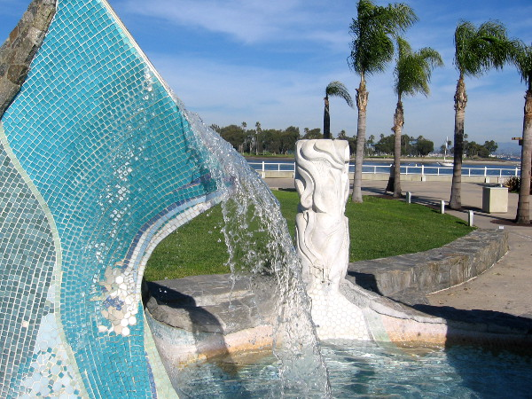 Sea Passage sculpture and fountain between Coronado City Hall and Community Center.