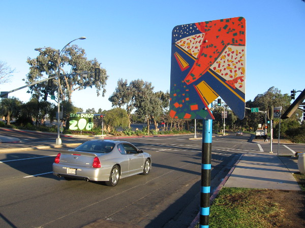 Car near San Diego Zoo entrance heeds artistic street sign, I'm sure.
