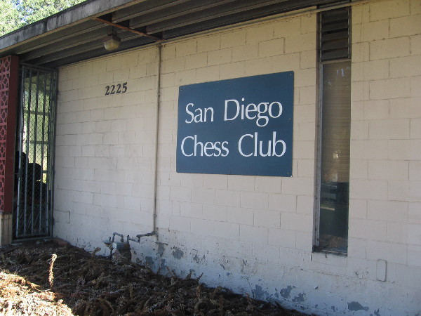 Passing years and neglect at San Diego Chess Club building in Balboa Park.