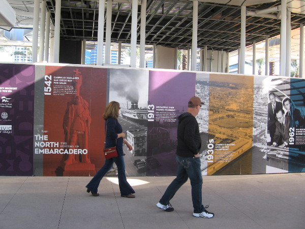 Images around a new pavilion near Broadway Pier show history of the Embarcadero.