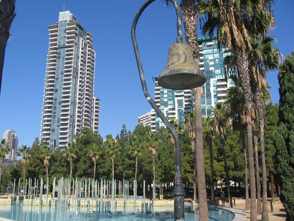 El Camino Real bell on Martin Luther King Jr. Promenade by Children's Park.
