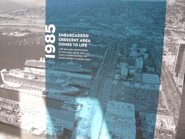1985: North Embarcadero's Crescent area between Coast Guard station and Grape Street renovated.