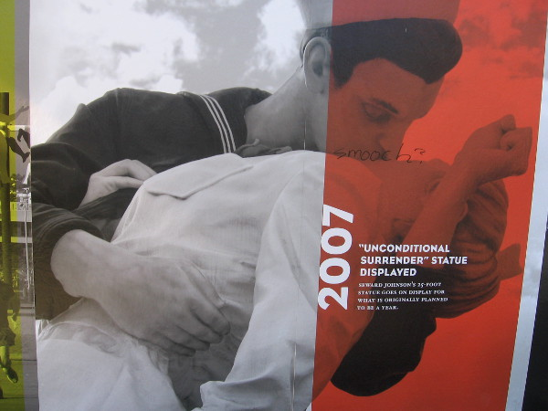 2007: Seward Johnson's Unconditional Surrender statue goes on display near USS Midway.