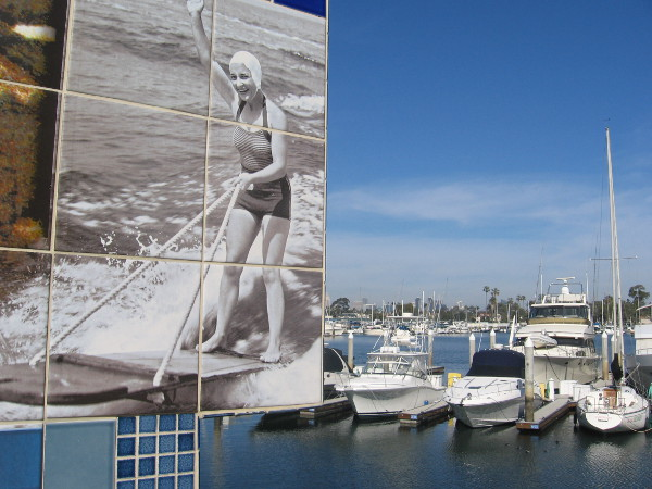 Water skiing in the past, and present-day boats in Glorietta Bay Marina.