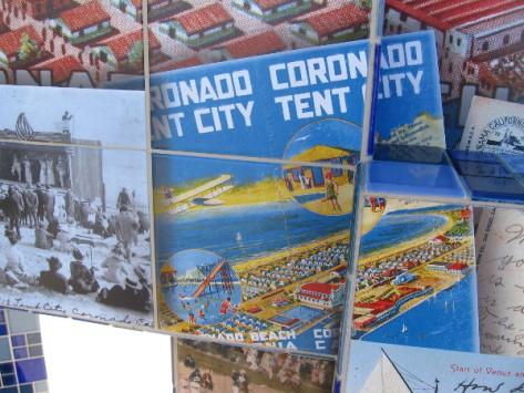 Postcard image shows layout of Coronado's Tent City.