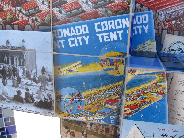 Postcard image shows layout of Coronado's Tent City.