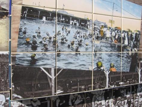 Swimmers enjoy the huge sandy-bottomed Plunge.