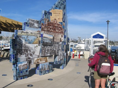 Bicyclist pauses to admire wonderful public art in Coronado.