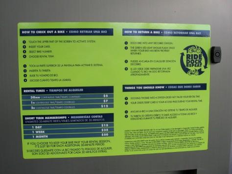 Sign shows rental and membership rates.
