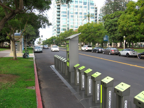 Another bike sharing station on El Prado near the west end of Balboa Park.