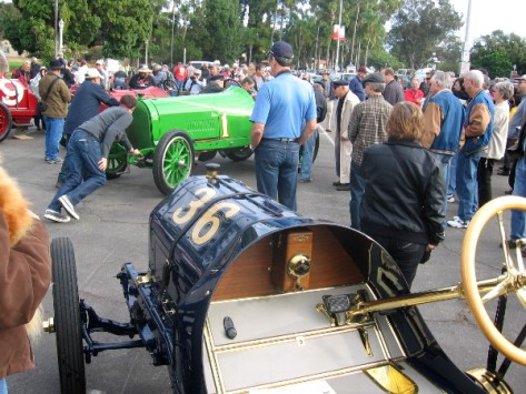 Vintage cars from era of Point Loma road race that began 1915 Panama-California Exposition.