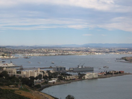 Looking out over San Diego Bay. Shelter Island lies in the distance beyond Naval Base Point Loma.