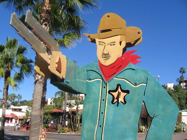 Stern lawman patrols San Diego Avenue.