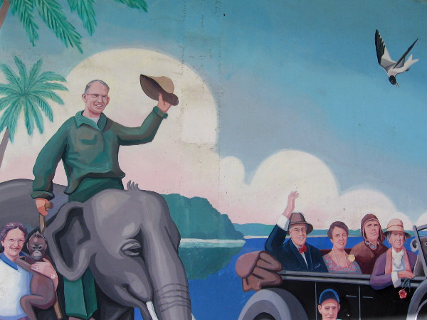 The lively Cruise Ship Terminal mural includes an elephant!