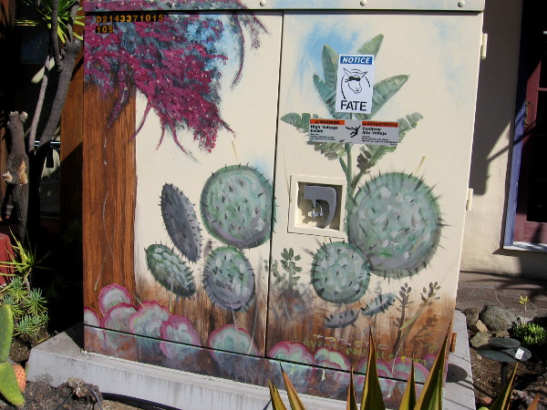 Utility box in Old Town painted with cacti.