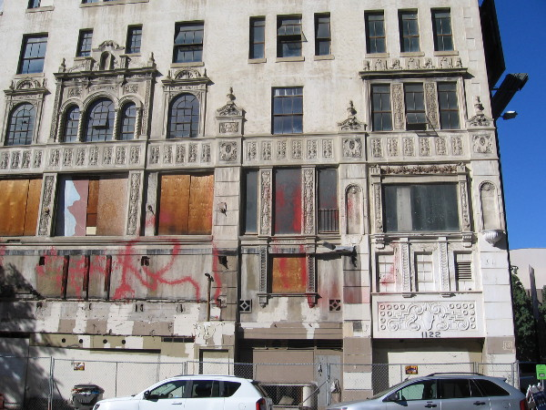 California Theatre marquee used to be seen on this old, abandoned building.