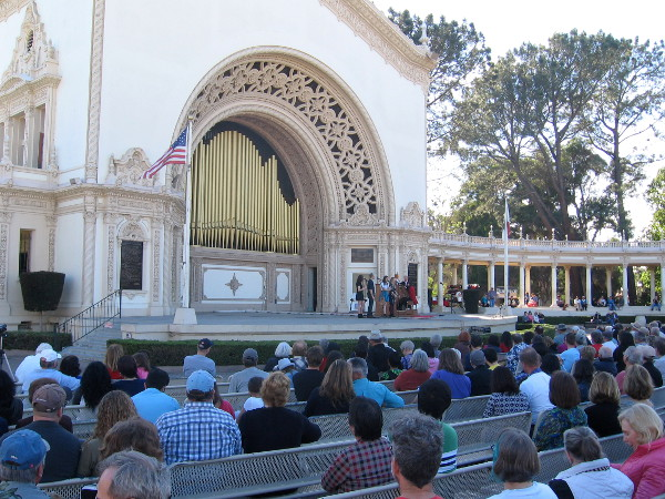 Almost all of the benches in the large Spreckels Organ Pavilion were full.