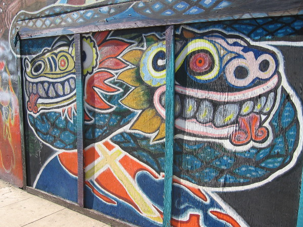 The 35 year old mural remains vivid, having been restored several times due to graffiti.