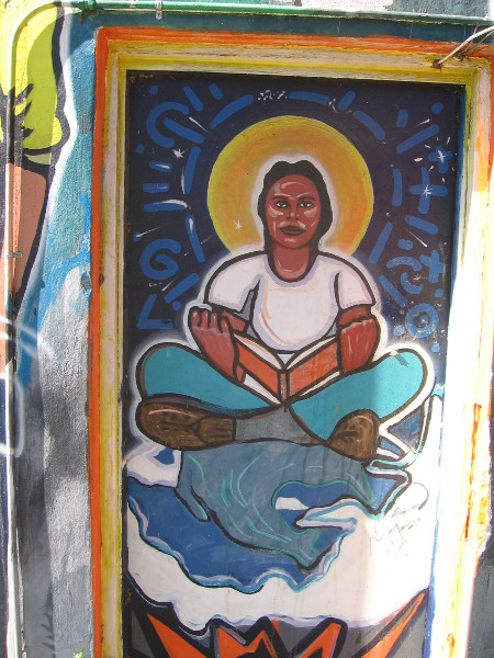 Latino-themed mural shows respect for education.