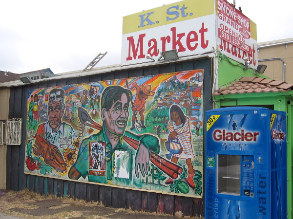 K St. Market on 25th Street with mural designed by local artist Mario Torero.